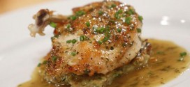 Pan Seared Chicken Breast with Herb Jus and Potato-Vegetable Hash