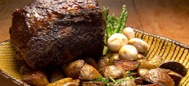 Rib Roast with Roasted White Potatoes and Asparagus
