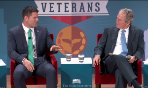 Stann speaks with President George W. Bush about the challenges facing returning veterans.