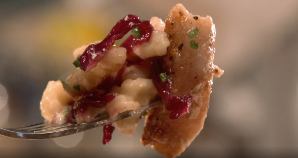 Seared Pork Chop with Sweet and Sour Cabbage — As seen on Restaurant: Impossible